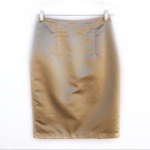 Calvin Klein Gold Silk Pencil Skirt Size S/M